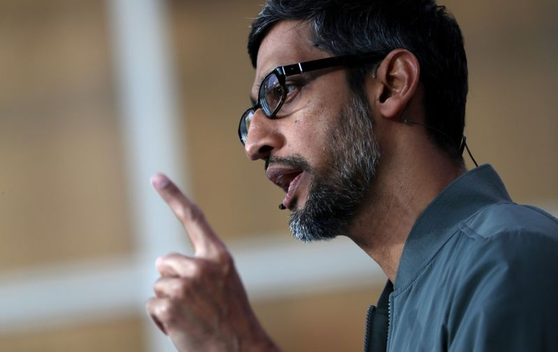 MOUNTAIN VIEW, CALIFORNIA - MAY 07: Google CEO Sundar Pichai delivers the keynote address at the 2019 Google I/O conference at Shoreline Amphitheatre on May 07, 2019 in Mountain View, California. The annual Google I/O Conference runs through May 8.   Justin Sullivan/Getty Images/AFP