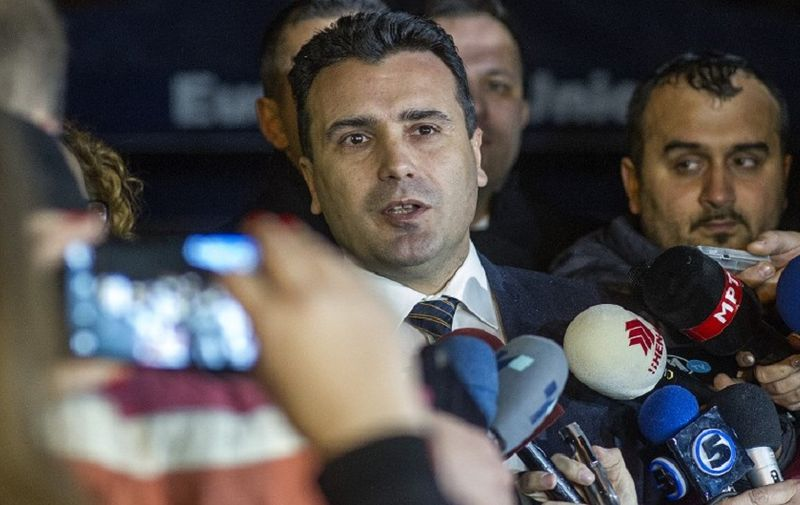 The leader of Macedonia's biggest opposition party SDSM, Zoran Zaev (C) talks to the media in Skopje on January 16, 2016.  EU Commissioner Johannes Hahn said in press statement that the negotiations between the four biggest political parties on implementing last year's political agreement have failed. Macedonia's Prime Minister Nikola Gruevski handed in his resignation on January 15, paving the way for an early election in April in line with an EU-brokered deal to end a political crisis. The move came as Hahn arrived in Skopje to encourage political parties to stick to the agreement reached in July last year, which was designed to end months of turmoil in the Balkan nation of about 2.1 million people.  / AFP PHOTO / Robert ATANASOVSKI
