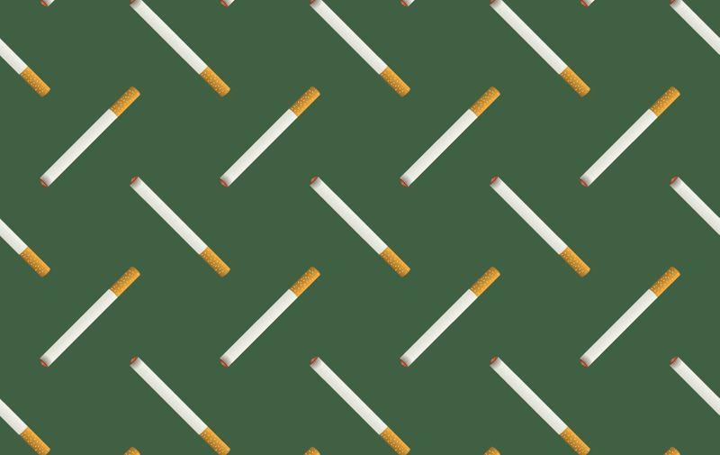 Burning Cigarette Seamless Pattern on Green Background