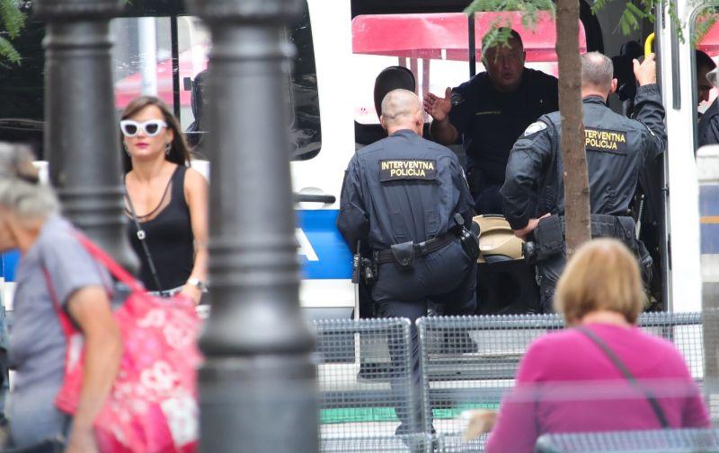 16.09.2021., Zagreb - Jako policijsko osiguranje u centru rgada uoci vecerasnje utakmice Europa liga izmedju Dinama i West Hama. Photo: Sanjin Strukic/PIXSELL