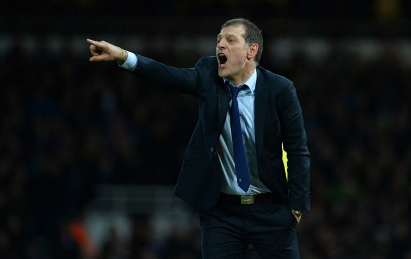 West Ham United's Croatian manager Slaven Bilic gestures during the English FA Cup fourth round replay football match between West Ham United and Liverpool at The Boleyn Ground in Upton Park, east London, on February 9, 2016. / AFP / GLYN KIRK / RESTRICTED TO EDITORIAL USE. No use with unauthorized audio, video, data, fixture lists, club/league logos or 'live' services. Online in-match use limited to 75 images, no video emulation. No use in betting, games or single club/league/player publications.  /