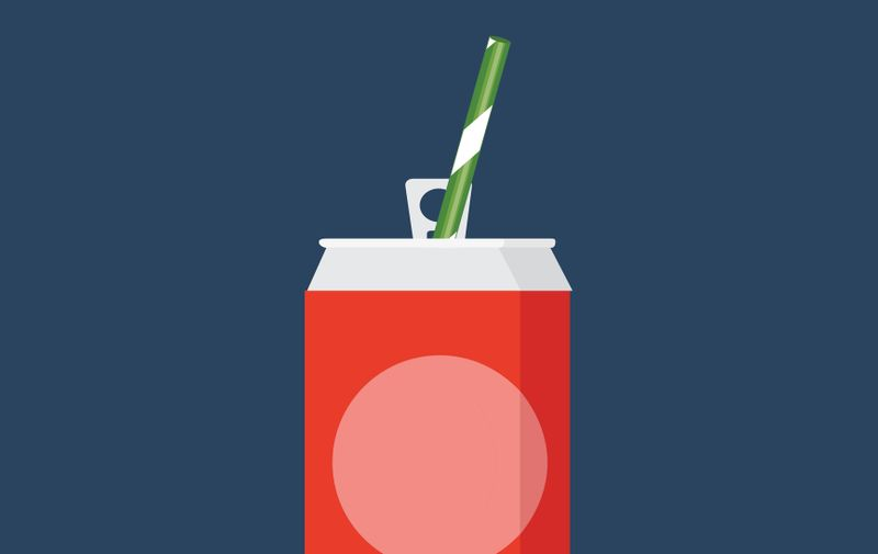 Vector illustration of cold drink can isolated on background. Flat style icon