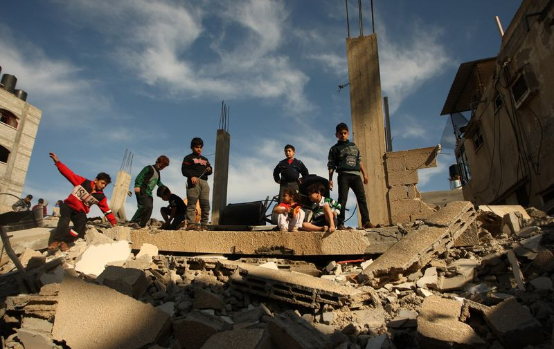Palestinians examine their home on May 5, 2019 that was destroyed during Israeli air strikes in Rafah in southern Gaza, on May 5, 2019,  Palestinian militants fired 250 rockets at Israel killing at least one person, and Israel then responded with air strikes killing at least four Palestinians.     Photo by /UPI, Image: 430969459, License: Rights-managed, Restrictions: , Model Release: no, Credit line: Profimedia, UPI