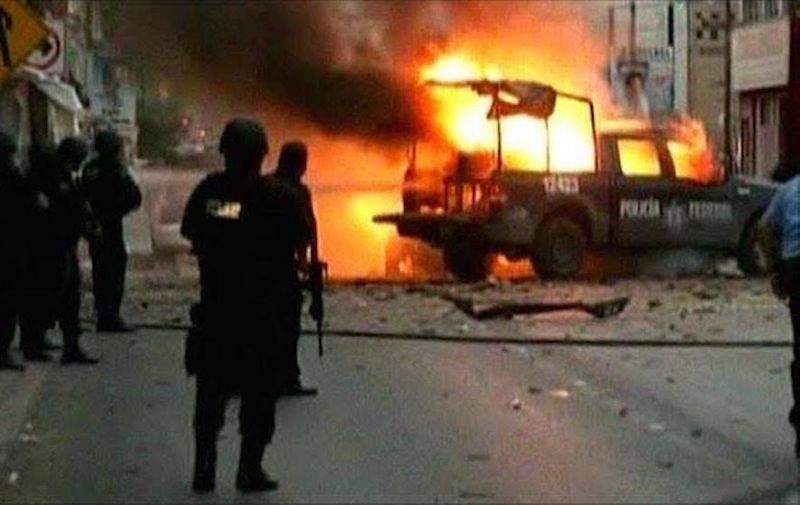 February 28, 2020, Ciudad Juarez, Chihuahua, USA: February 28, 2020, Roberto E. Rosales.(Screen capture via  youtube)Investigators in Mexico say a deadly attack by suspected drug cartel members in the northern city of Ciudad Juarez was a car bomb set off by mobile phone..Two police officers and two medics answering an emergency were killed. This event took place in July, 2010.Albuquerque Journal,Image: 501762128, License: Rights-managed, Restrictions: , Model Release: no