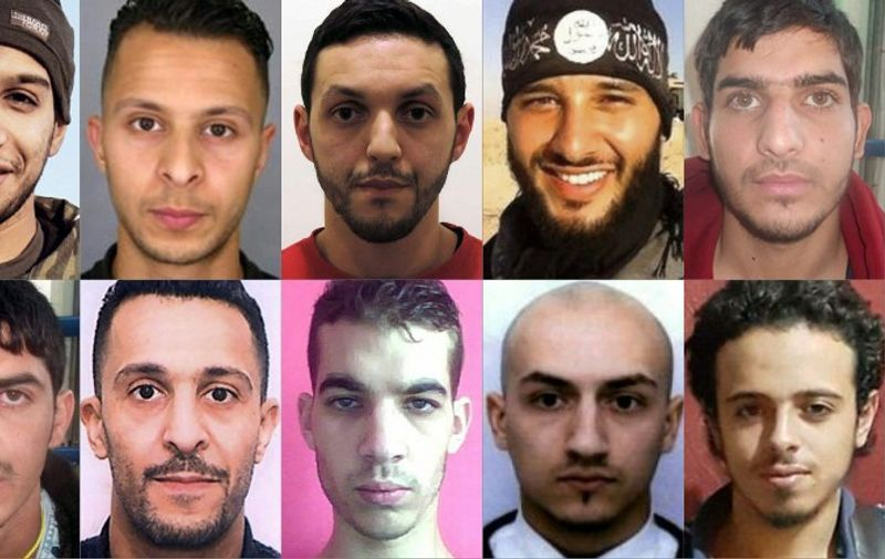 (COMBO) This combination of pictures created on December 10, 2015 in Paris shows the persons involved in the November 13 terror attacks in Paris. Suspected attacks mastermind Abdelhamid Abaaoud (top row, L) and Brahim Abdeslam (bottom row, 2nd L) took part in the Bars and restaurants shootings with a third unidentified man. Samy Amimour (bottom row, 2nd R), Omar Ismail Mostefai (bottom row, C) and Foued Mohamed Aggad (top row 2nd R), attacked the Bataclan concert hall. Bilal Hadfi (bottom row R), and two unidenfied men (top row R and bottom row L) blew themselves outside the Stade de France stadium. Salah Abdeslam (top row, 2nd L) may have conveyed the Stade de France attackers and is still on the run, aswell as Mohamed Abrini (top row, C) who have been seen with Salah Abdeslam on November 11. / AFP / Federal police AND HO