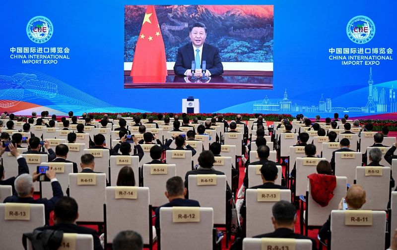 This photo taken on November 4, 2020 shows Chinese President Xi Jinping delivering a speech via video for the opening ceremony of the 3rd China International Import Expo (CIIE) in Shanghai. (Photo by STR / AFP) / China OUT