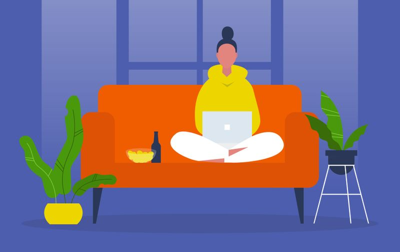 Young female character sitting on sofa and watching TV series on a laptop. Snacks and beer. Leisure. Weekend activities. Chill. Flat editable vector illustration, clip art