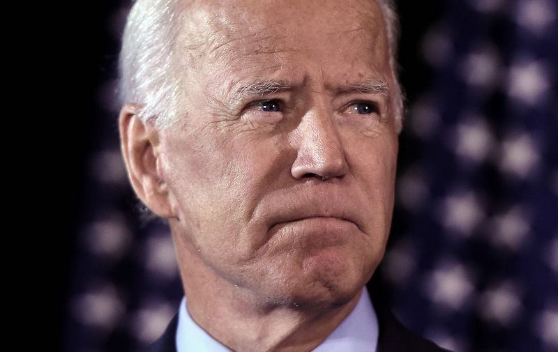 Democratic presidential hopeful Joe Biden makes a statement on Ukraine during a press conference at the Hotel Du Pont on September 24, 2019, in Wilmington, Delaware. (Photo by Olivier Douliery / AFP)