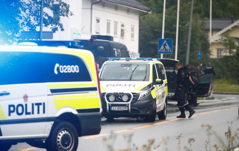 A picture taken on August 10, 2019 shows police vehicles near the al-Noor islamic center mosque where a gunman, armed with multiple weapons, went on a shooting spree in the town of Baerum, an Oslo suburb. - The gunman injured one worshipper before being arrested, police and witnesses said. (Photo by Terje Pedersen / NTB Scanpix / AFP) / Norway OUT
