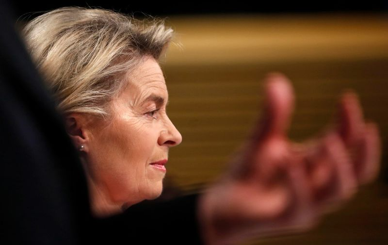 European Commission President Ursula von der Leyen looks on during a media conference on Brexit negotiations at EU headquarters in Brussels, on December 24, 2020. - Britain said on December 24, 2020, an agreement had been secured on the country's future relationship with the European Union, after last-gasp talks just days before a cliff-edge deadline. (Photo by Francisco Seco / POOL / AFP)