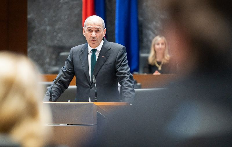 Slovenian Democratic Party leader Janez Jansa delivers a speech after being elected as Slovenia's Prime Minister by the members of the National Assembly in Ljubljana, Slovenia, on March 3, 2020. (Photo by Jure Makovec / AFP)