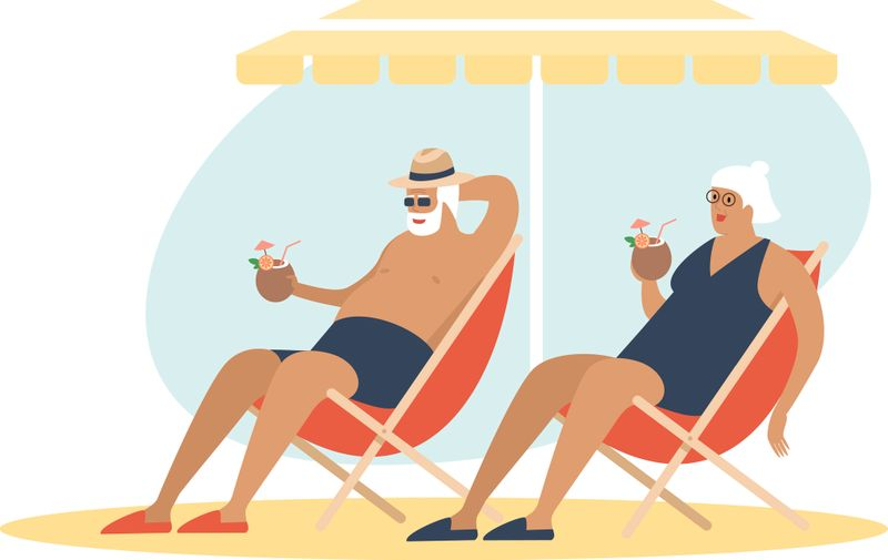 Old senior couple enjoying a coconut cocktailon the beach underparasol together. Carefree retirement, travel, tropical vacation, summer tourism concept. Flat vector character