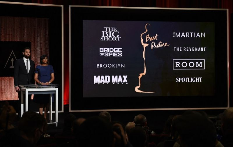 A screen showing the Oscar nominees for Best Picture as announced by actor John Krasinski and Academy President Cheryl Boone Isaacs during the Academy Awards Nominations Announcement at the Samuel Goldwyn Theater in Beverly Hills, California on January 14, 2016.   The 88th Oscars will be held on February 28 at the Dolby Theatre in downtown Hollywood. / AFP / MARK RALSTON