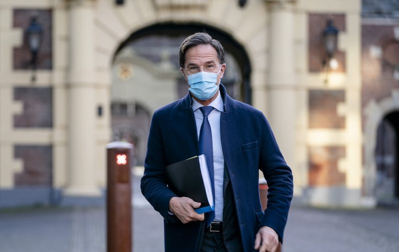 Dutch Prime Minister Mark Rutte arrives for the plenary debate in the House of Representatives about the developments surrounding the corona virus in the Hague on November 4, 2020. (Photo by Bart Maat / ANP / AFP) / Netherlands OUT