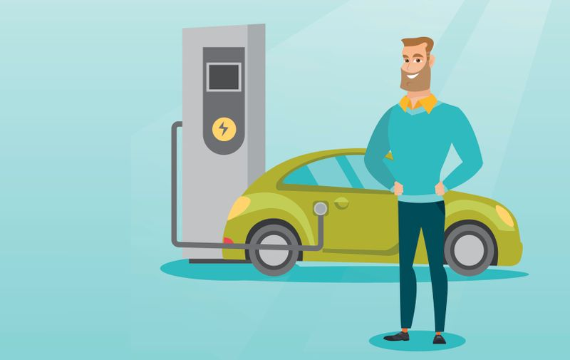 Young caucasian man charging electric car at charging station. Man standing near power supply for electric car. Charging of electric car. Vector flat design illustration. Horizontal layout.