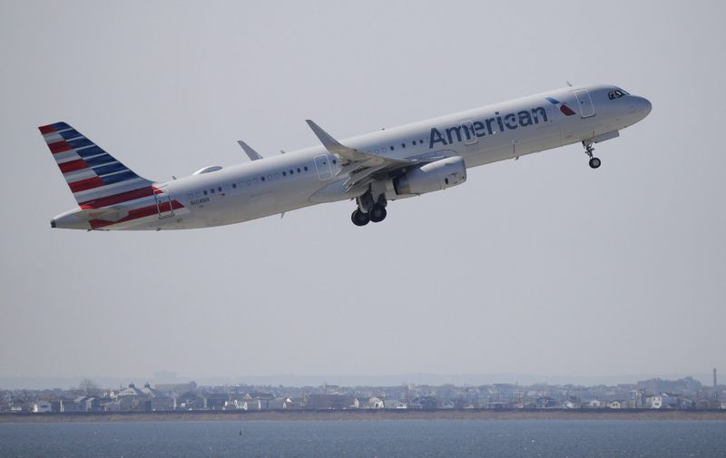 """An American Airlines plane takes off one day after the crash of Ethiopian Airways Flight 302 at JFK Airport on March 11, 2019 in New York City. Ethiopian Airways Flight 302 crashed on Sunday shortly after takeoff, killing all 157 aboard and raising questions about the safety of the aircraft model, the Boeing 737 Max 8. The Civil Aviation Administration of China ordered that all domestic Boeing 737 MAX 8 jets be out of the air by 6 p.m. local time, due to its principle of """"zero tolerance for safety hazards."""" American Airlines, Southwest Airlines as well as other airlines which have many MAX 8 aircraft in their fleet have no plans to ground those planes at the moment.  Photo by /UPI, Image: 418787490, License: Rights-managed, Restrictions: , Model Release: no, Credit line: Profimedia, UPI"""