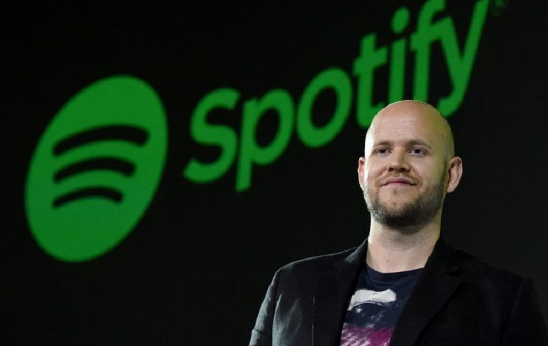 Daniel Ek, CEO of Swedish music streaming service Spotify, poses for photographers at a press conference in Tokyo on September 29, 2016. - Spotify kicked off its services in Japan on September 29. (Photo by TORU YAMANAKA / AFP)