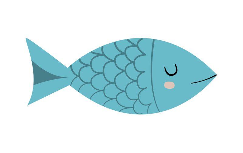 Cute fish character. Cartoon vector illustration