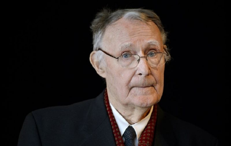 (FILES) This file photo taken on December 3, 2018 shows Ikea founder Ingvar Kamprad posing prior the inauguration of the Margaretha Kamprad Chair of Environmental Science and Limnology at the Swiss Federal Institutes of Technology of Lausanne (EPFL) in Lausanne.  Ingvar Kamprad, the enigmatic founder of Swedish furniture giant IKEA, died aged 91 on Sunday, the company said. / AFP PHOTO / FABRICE COFFRINI