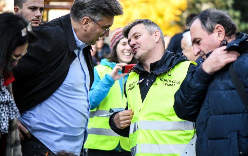 20.11.23., Zagreb - Susret premijera Plenkovica i predsjednickog kandidata Daria Juricana na Cvjetnom trgu Photo: Zoe Sarlija/PIXSELL
