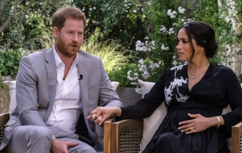 Meghan Markle and Harry Windsor interview with Oprah Winfrey shown on UK TV on March 8th, 2021.,,Image: 596137906, License: Rights-managed, Restrictions: Supplied by AVALON.RED - Fee Payable Upon Reproduction - For queries contact Avalon - sales@avalon.red  London: +44 (0) 20 7421 6000  Florida: +1 239 689 1883  Berlin: +49 (0) 30 76 212 251, Model Release: no