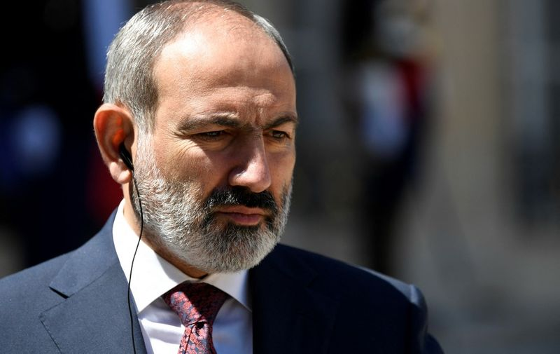 Armenian Prime minister Nikol Pachinian gives a press briefing following his working lunch with French president at the Elysee palace in Paris, on June 1, 2021. (Photo by Bertrand GUAY / AFP)