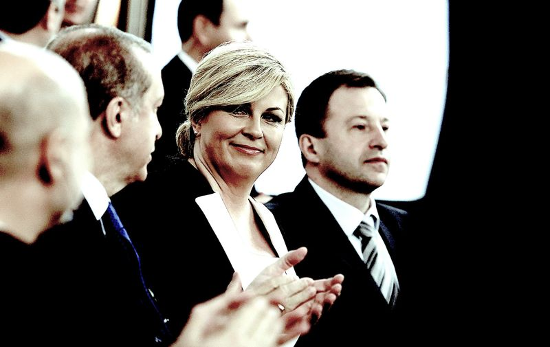 27.04.2016.,Croatia,  Zagreb - Croatian - Turkish business forum was held at the Westin Hotel, where it was  signed a Memorandum of Understanding of HGK - DEIK. The participants were also addressed by the President of the Republic of Croatia Kolinda Grabar-Kitarovic and Turkish President Recep Tayyip Erdogan., Image: 282857039, License: Rights-managed, Restrictions: World except Croatia, Bosnia & Herzegovina, Slovenia, Serbia, Montenegro, Kosovo, Macedonia, Model Release: no, Credit line: Profimedia, Press Association