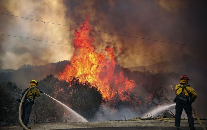 San Miguel County Firefighters battle a brush fire along Japatul Road during the Valley Fire in Jamul, California on September 6, 2020 - The Valley Fire in the Japatul Valley burned 4,000 acres overnight with no containment and 10 structures destroyed, Cal Fire San Diego said. (Photo by SANDY HUFFAKER / AFP)