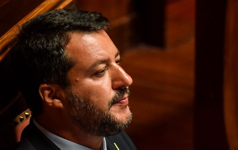 Deputy Prime Minister and Interior Minister Matteo Salvini looks on during the debate at the Italian Senate, in Rome, on August 20, 2019, as the country faces a political crisis. - On August 20 Italian Prime Minister says he will offer his resignation to the Senate, lashing out at Salvini for pursuing his own interests by pulling the plug on the coalition. (Photo by Andreas SOLARO / AFP)