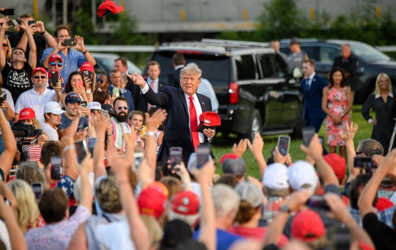 Former President Donald Trump attends the 'Save America' rally at the Lorain County Fairgrounds on June 26, 2021 in Wellington, Ohio. Donald Trump Holds A 'Save America' Rally In Ohio for Congressional Candidate Max Miller, Wellington, USA - 26 Jun 2021,Image: 618095039, License: Rights-managed, Restrictions: , Model Release: no, Credit line: Profimedia