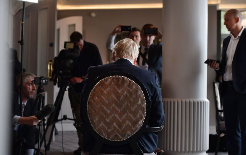 BELFAST, NORTHERN IRELAND - JULY 02: Boris Johnson gives a television interview before a Hustings event at the Culloden House Hotel on July 2, 2019 in Belfast, Northern Ireland. Boris Johnson and Jeremy Hunt are contesting the Conservative party leadership contest following Prime Minister Theresa May's decision to step down as Prime Minister and party leader. (Photo by Charles McQuillan - Pool / Getty Images)