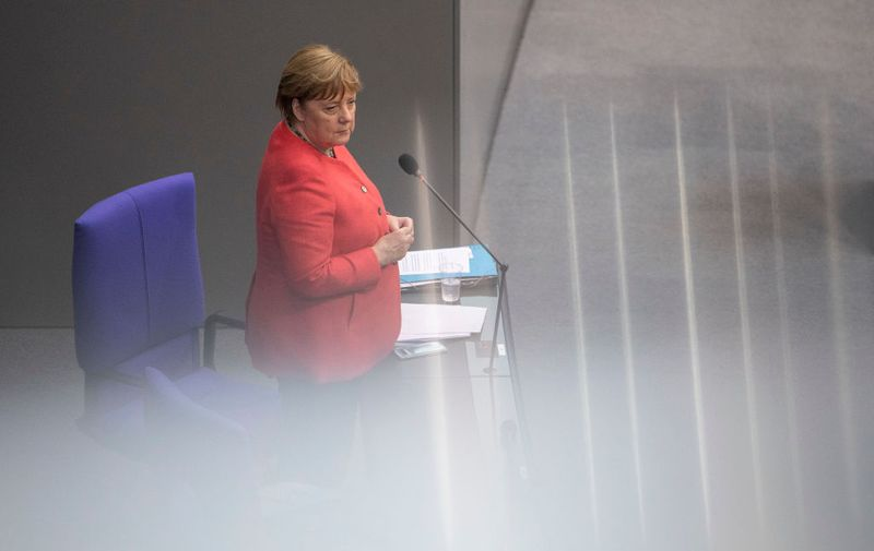 BERLIN, GERMANY - JULY 01: German Chancellor Angela Merkel speaks on behalf of the federal government during a question and answer session at the Bundestag on July 01, 2020 in Berlin, Germany. Today's session coincides with the first day of Germany's assumption of the rotating presidency of the European Council. (Photo by Maja Hitij/Getty Images)