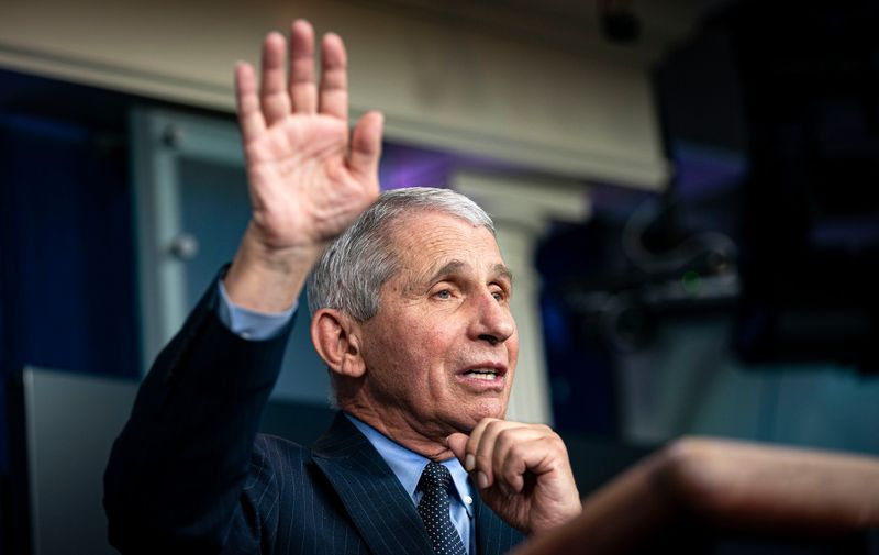 January 21, 2021, Washington, District of Columbia, USA: Anthony Fauci, director of the National Institute of Allergy and Infectious Diseases, speaks during a news conference in the James S. Brady Press Briefing Room at the White House in Washington, D.C., U.S.,  on Thursday, Jan. 21, 2021. Biden in his first full day in office plans to issue a sweeping set of executive orders to tackle the raging Covid-19 pandemic that will rapidly reverse or refashion many of his predecessor's most heavily criticized policies,Image: 585218779, License: Rights-managed, Restrictions: , Model Release: no