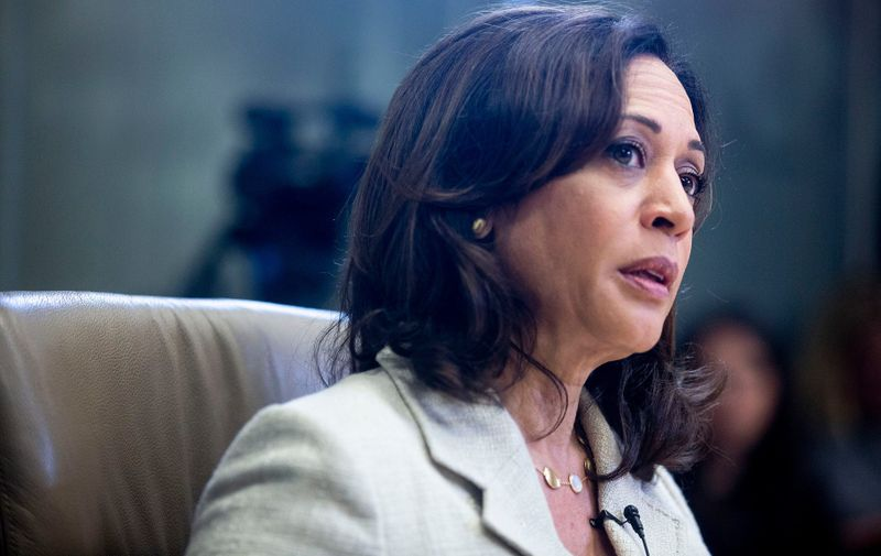U.S. Sen. Kamala Harris, D-Calif., meets with the Des Moines Register editorial board in Des Moines, Iowa on Sunday, Aug. 11, 2019, at the Register's office in downtown Des Moines.  0811 Kamalaharris 008 Cr2,Image: 464729708, License: Rights-managed, Restrictions: *** World Rights ***, Model Release: no