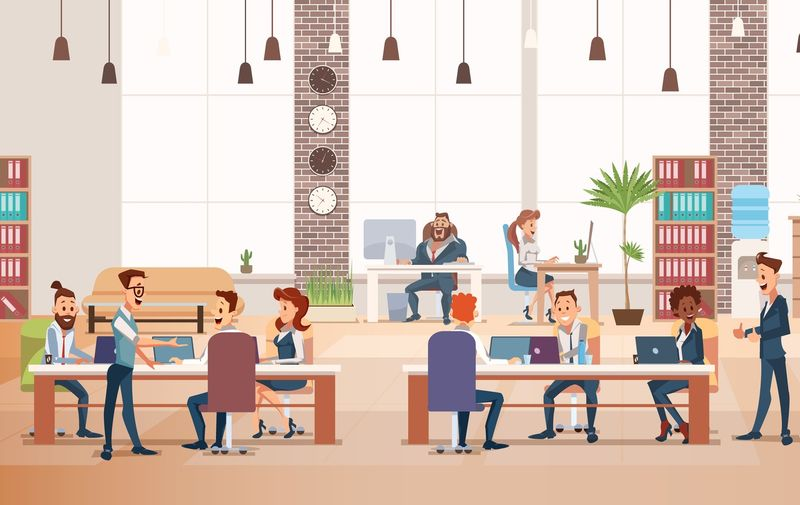 Coworking Workspace. Office Fun. People Work in Office. Happy Workers in Workplace. Men and Women Work. Corporate Culture in Company. Cheerful Working Day. Vector Flat Illustration.