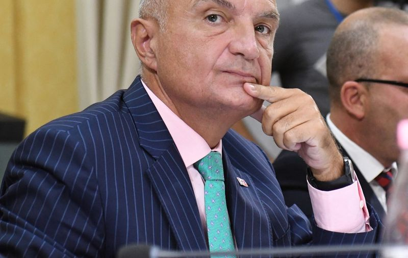 Albanian President Ilir Meta looks on during a parliamentary hearing on the constitutionality of his decision to cancel local elections on June 30, a move considered by the ruling majority to be beyond his legal purview, in Tirana on September 9, 2019. - Parliament has started procedures to remove the president after he decided to cancel local elections boycotted by the opposition, but the ruling majority ignored his decree and held the elections anyway. (Photo by Gent SHKULLAKU / AFP)