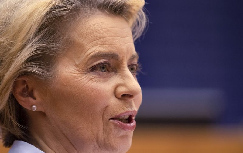 President of Commission Ursula von der Leyen delivers a speech, at European Parliament, in Brussels, on December 16, 2020. (Photo by JOHN THYS / POOL / AFP)