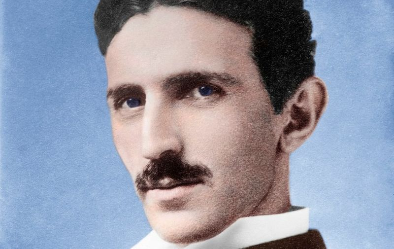 Nikola Tesla (1856-1943), Serb-US physicist. In 1884 Tesla emigrated to America. For a while he worked with Edison, but after advocating alternating current (AC) over Edison's preferred (and financially lucrative) direct current (DC), they parted. Tesla then developed the AC induction motor and improved AC generation. Alternating current, since it can be easily transformed up and down, is far easier to distribute than DC. Later Tesla invented an air-core transformer which created sparks 40 metres long. In 1899 he lit 200 electric lamps over 25 miles without wires. The SI unit of magnetic flux density is named after him., Image: 237862151, License: Rights-managed, Restrictions: , Model Release: no, Credit line: Profimedia, Sciencephoto RM