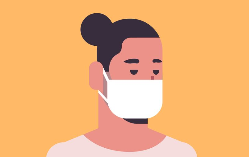 man wearing face mask environmental industrial smog dust toxic air pollution and virus protection concept male cartoon character portrait flat vector illustration (man wearing face mask environmental industrial smog dust toxic air pollution and virus