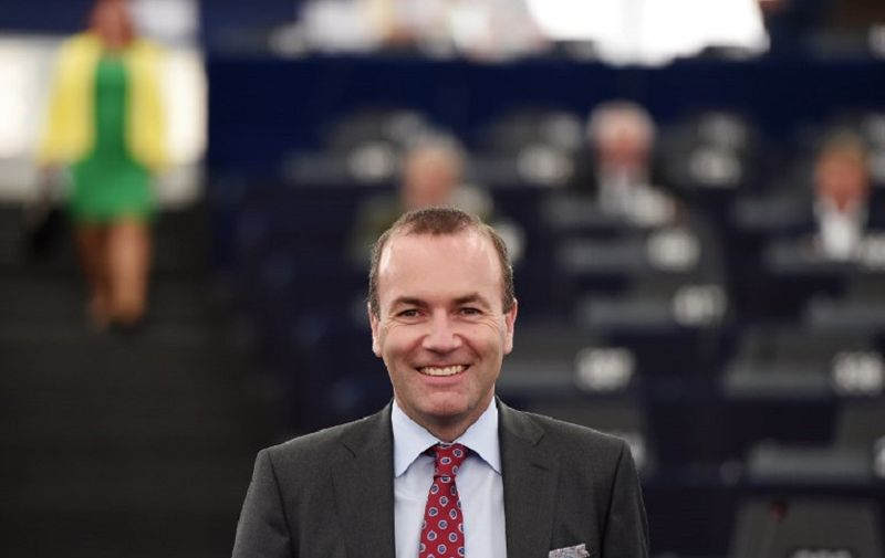 Chairman of the center-right European People Party group (EPP) Manfred Weber arrives to attend a debate concerning Hungary's situation during a plenary session at the European Parliament on September 11, 2018 in Strasbourg, eastern France. (Photo by FREDERICK FLORIN / AFP)