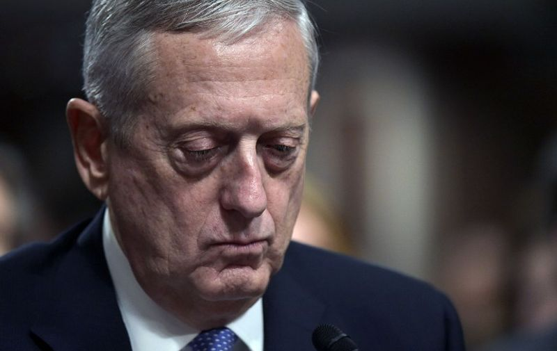 Retired Marine Corps general James Mattis testifies before the Senate Armed Services Committee on his nomination to be the next secretary of defense in the Dirksen Senate Office Building on Capitol Hill in Washington, DC on January 12, 2017. / AFP PHOTO / Mandel NGAN