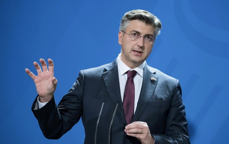 16 January 2020, Berlin: Andrej Plenkovic, Croatian Prime Minister, is a guest at the Federal Chancellery. Photo: Jörg Carstensen/dpa