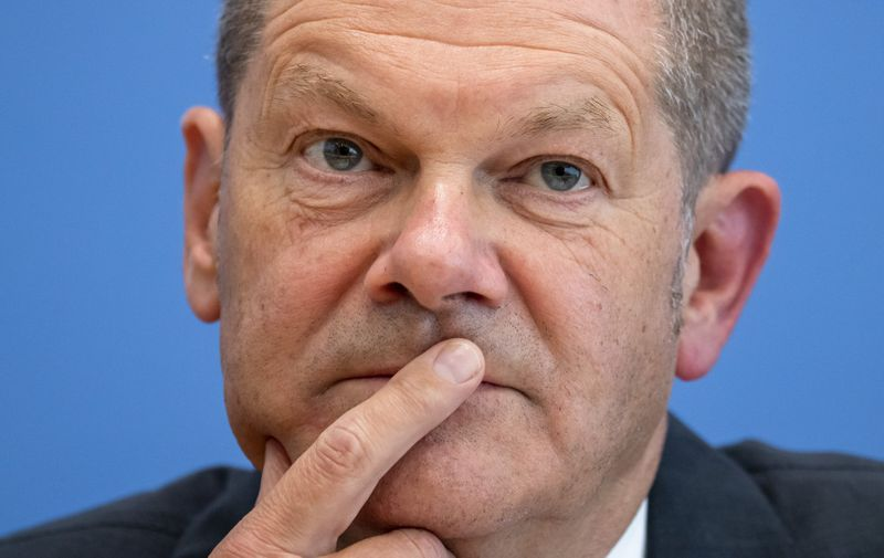 German Finance Minister and SPD Chancellor Candidate Olaf Scholz Presents 2022 Federal Budget Proposal at the Bundespressekonferenz in Berlin, Germany on June 23, 2021. Finance Minister Scholz Presents 2022 Federal Budget Proposal, Berlin, Germany - 23 Jun 2021,Image: 617454837, License: Rights-managed, Restrictions: , Model Release: no, Credit line: Profimedia