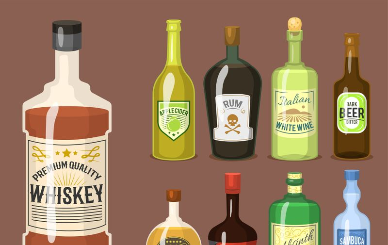 Alcohol strong drinks in bottles and cocktail glasses whiskey cognac brandy beer wine vector illustration. Cool cold alcoholic drawing liquor beverage., Image: 380444559, License: Royalty-free, Restrictions: , Model Release: yes, Credit line: vectordreamsmachine / DPphoto / Profimedia