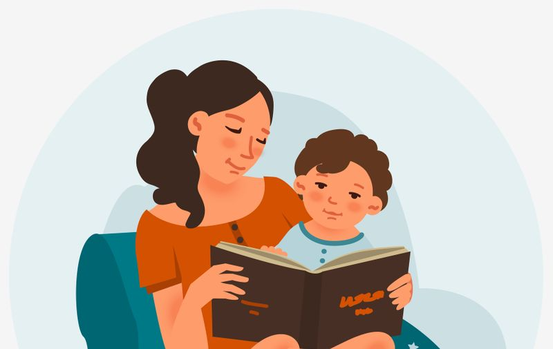 Mother with cute baby reading book. Family, early development, activity, learning