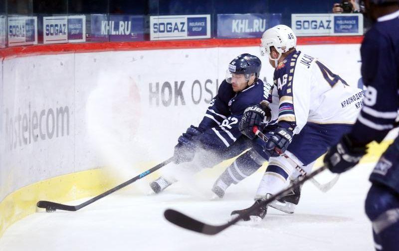 11.12.2015., Dom sportova, Zagreb - Kontinentalna hokejaska liga, 42. kolo, KHL Medvescak - HK Soci. Patrick Bjorkstrand, Janne Jalasvaara.  Photo: