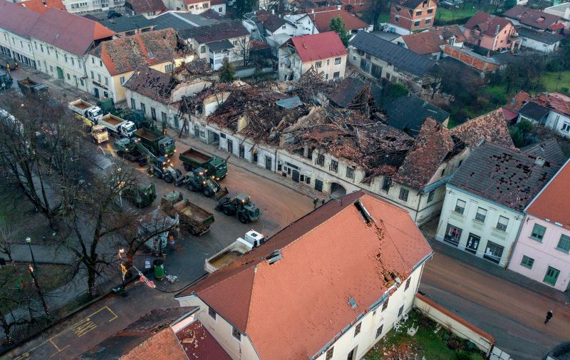 30.12.2020., Petrinja - Fotografija iz zraka na posljedice jucerasnjeg potresa u Petrinji. Snazan potres pogodio je jucer Hrvatsku, epicentar potresa magnitude 6.2 je bio 3 kilometra od Petrinje. Photo: Igor Kralj/PIXSELL