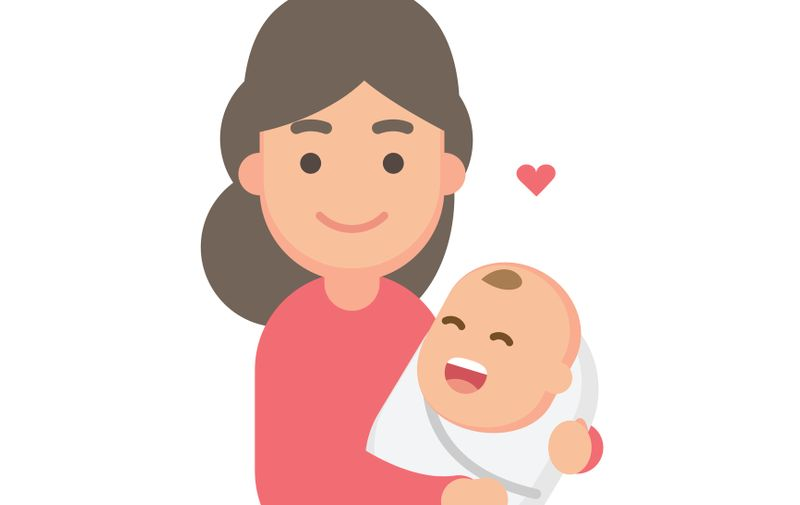 Mother holding cute baby. Happy Mothers' day. Vector flat illustration