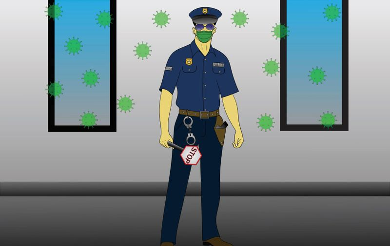 Illustration of a police officer on the street holding a medical mask in his hand holding a STOP sign next to him in the air of a bacterial corona virus, Image: 511855074, License: Royalty-free, Restrictions: , Model Release: no, Credit line: Predrag Zdravkovic / Alamy / Alamy / Profimedia