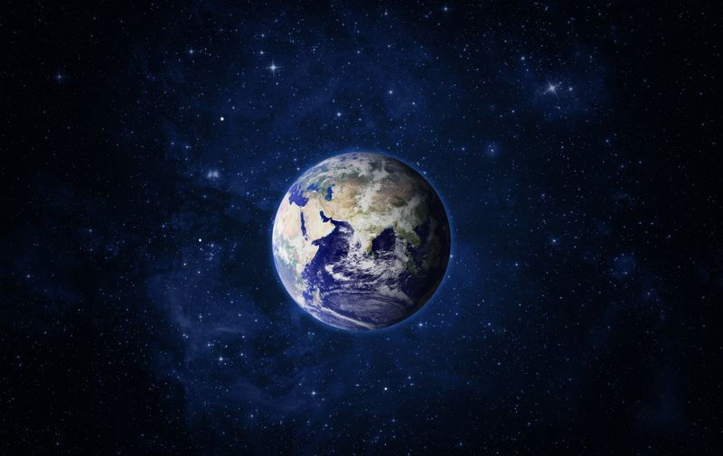 Space and planet Earth. Eastern hemisphere. Galaxy, nebula and Earth. This image elements furnished by NASA